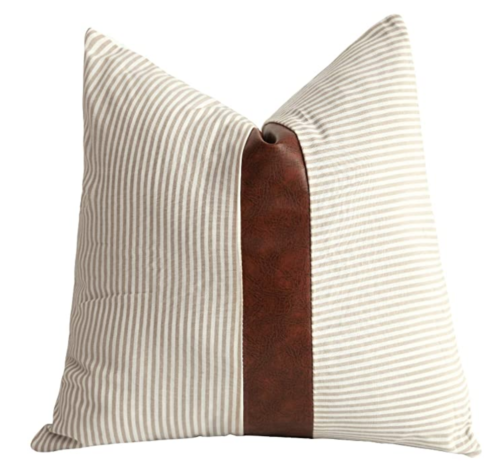 Decorative Pillow with Faux Leather Accent