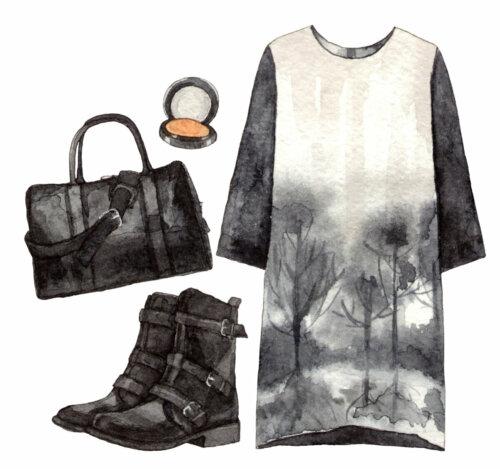 Alenaganzhela - watercolor fashion set black outfit.